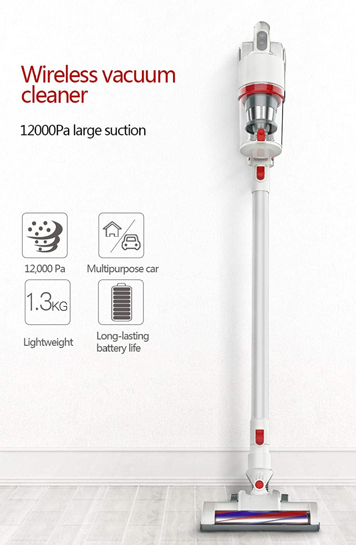 zhouzhou666 Aspirateur Main Vertical avec Technologie cyclonique, Filtre Lavable et 3 brosses Blanc