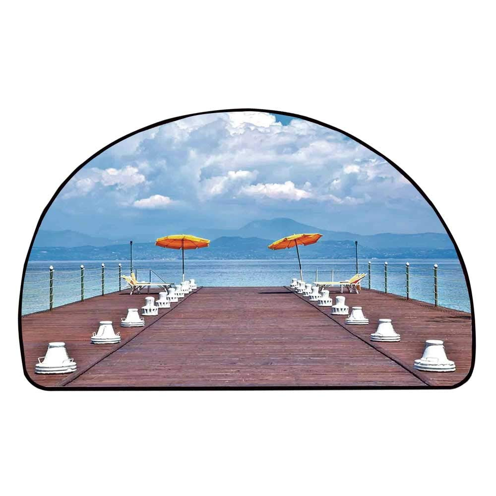 C COABALLA Seascape Comfortable Semicircle Mat,Luminous Sunshades and Sun Beds On a Jetty at Lake Seascape Scenic for Living Room,11.8'' H x 23.6'' L