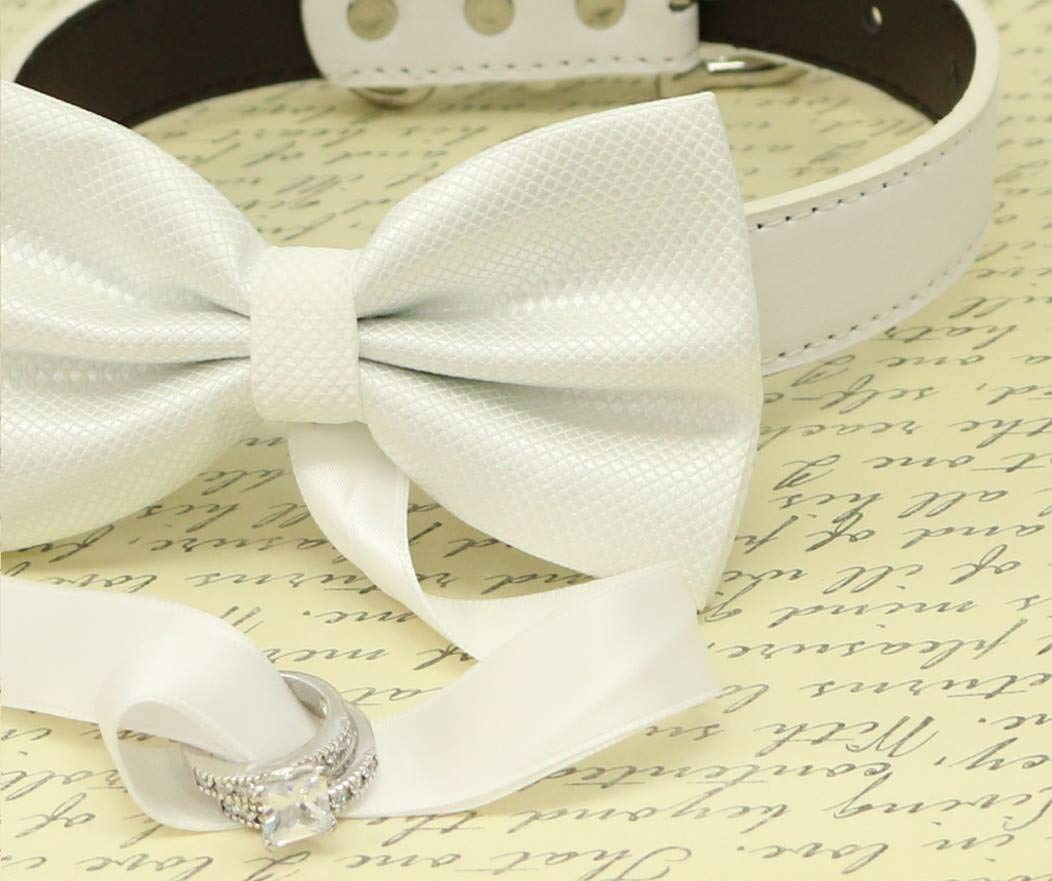 050ea3eb4518 Amazon.com: White Dog Bow Tie ring bearer Collar, Pet Wedding, handmade,  proposal, marry me: Handmade