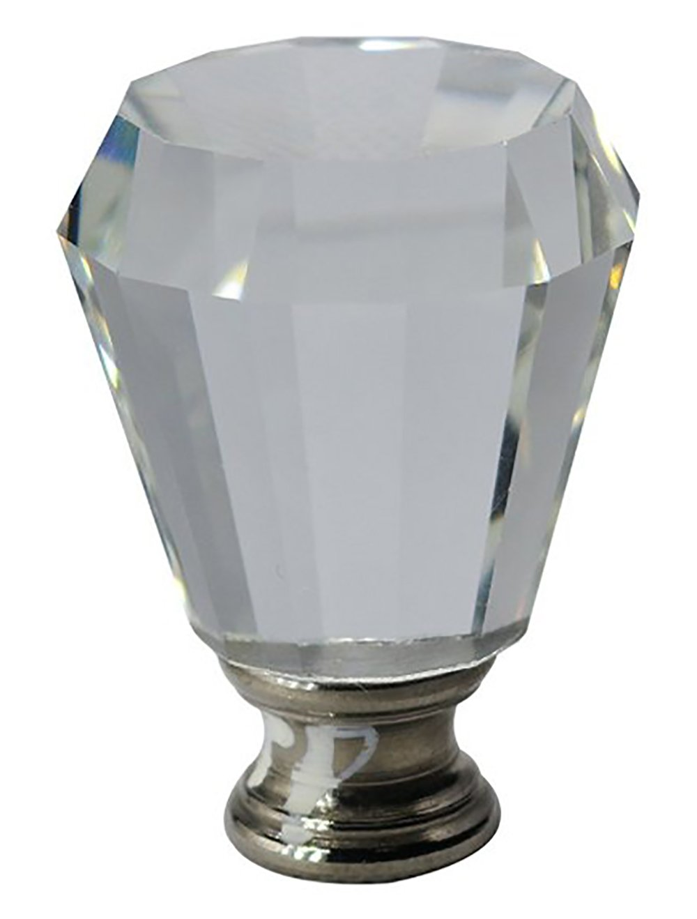 Urbanest Crystal Anne Lamp Finial, Brushed Steel, 2-inch Tall