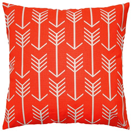 JinStyles Arrow Cotton Canvas Decorative Throw Pillow Cover (Orange Red and White, 18 x 18 inches) (Red Orange Pillows)