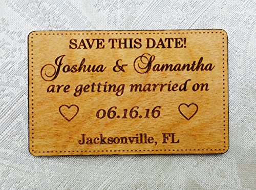 25 Save the Date Personalized Wood Engraved Cards -Wallet inserts/handoutsn for Wedding