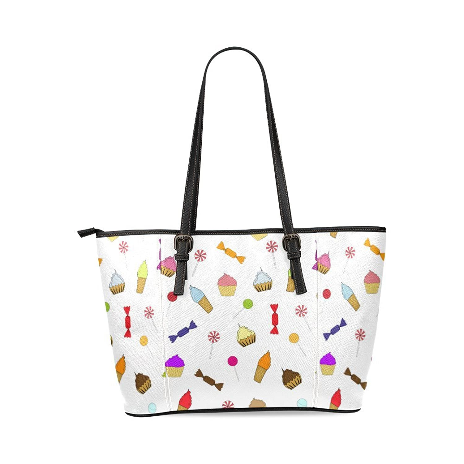 Ice Cream Custom Women's PU Leather Large Tote Bag/Handbag/Shoulder Bag
