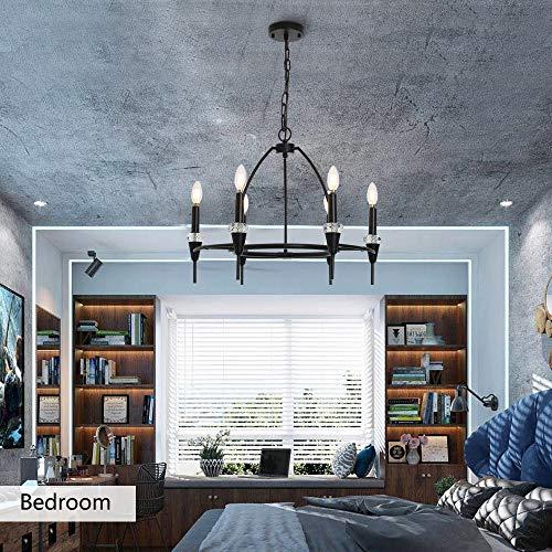 AUDIAN Pendant Lighting Chandelier 6 Lights Ceiling Light Fixture Living Room Pastoral Pendant Lamp K9 Crystal Ring Adjustable Chain for Living Room Restaurant Dining Room