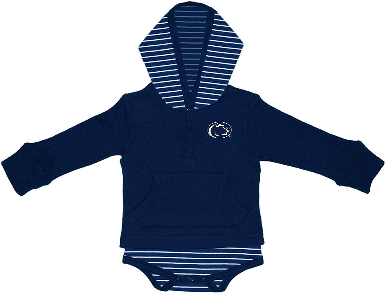 Two Feet Ahead Baby Penn State Long Sleeved Stripe Hooded Creeper