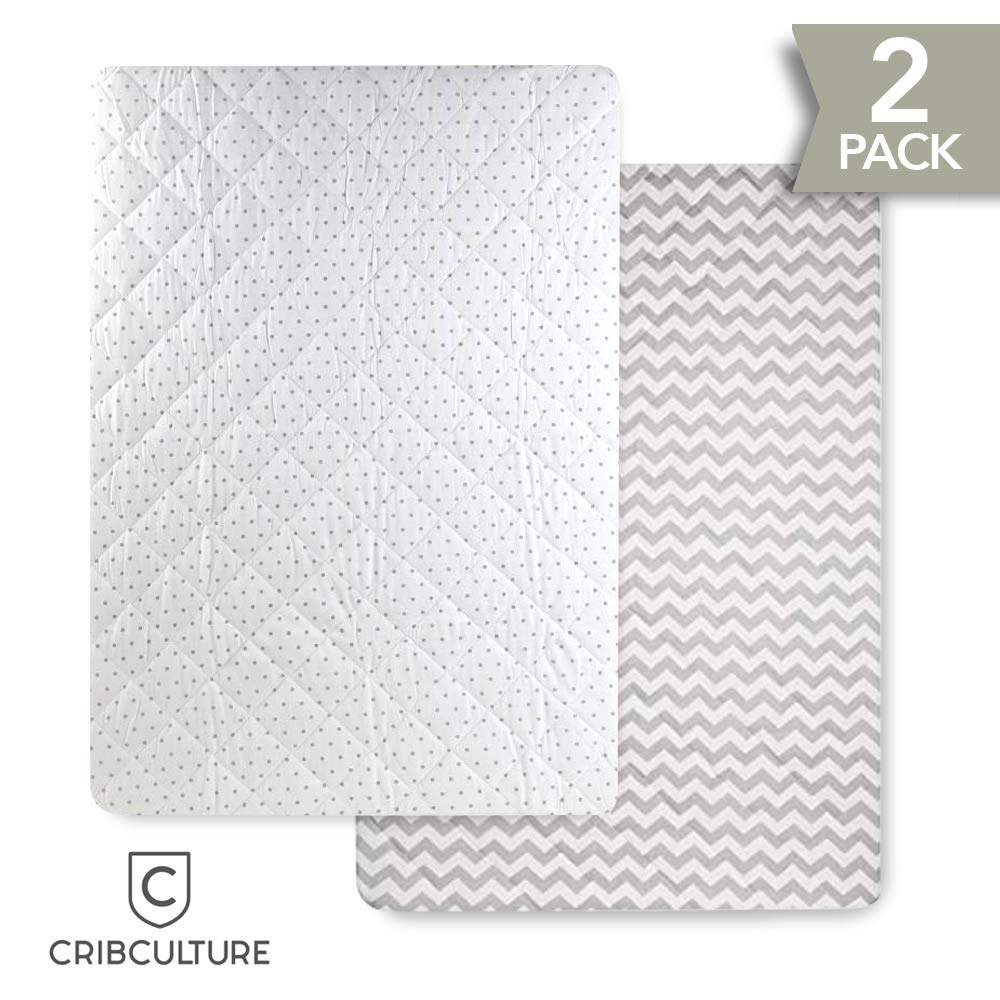 CC Pack N Play Fitted Sheets and Attached Waterproof Mattress Pads - Fits All Playard, Mini Crib, Portable Crib Mattresses - Washer and Dryer Safe - Polka Dot and Chevron Patterns (2 Pack)