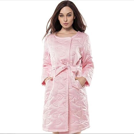 Albornoz Camisón De Mujer De Punto Algodón Super suave y gruesa albornoz camisón de cinturón y