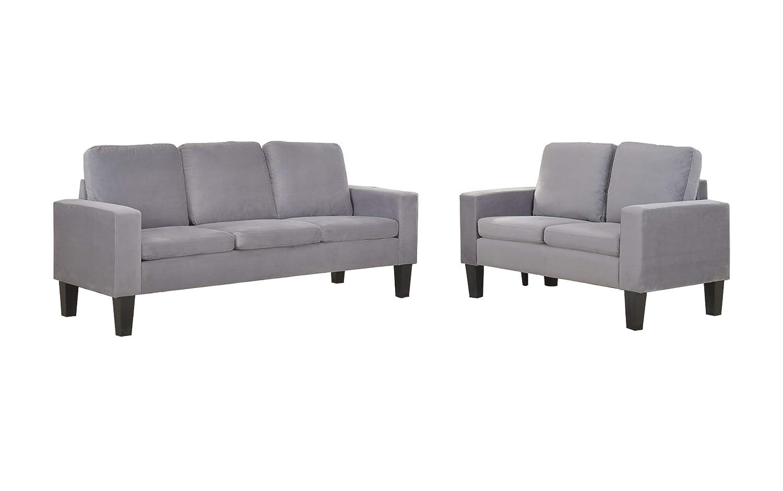 Wondrous Amazon Com Nhi Express Sarah Microfiber Sofa Set Gray Cjindustries Chair Design For Home Cjindustriesco