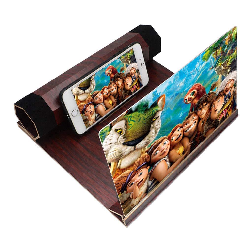 🌹Jonerytime 3D Phone Screen Magnifier Stereoscopic Amplifying 12 Inch Desktop Wood Bracket Gold