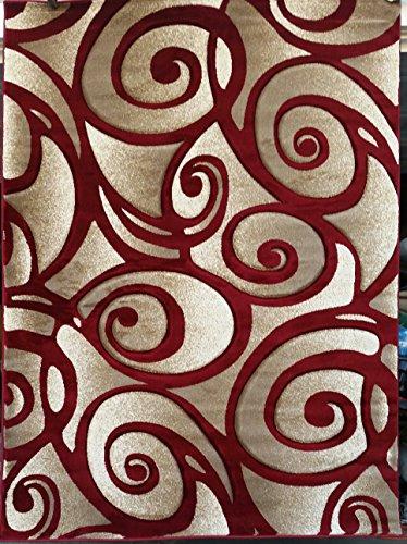 (Modern Contemporary Door Mat Abstract Area Rug Red Sculpture Design  241 (2 Feet X 3 Feet 4 Inch ))