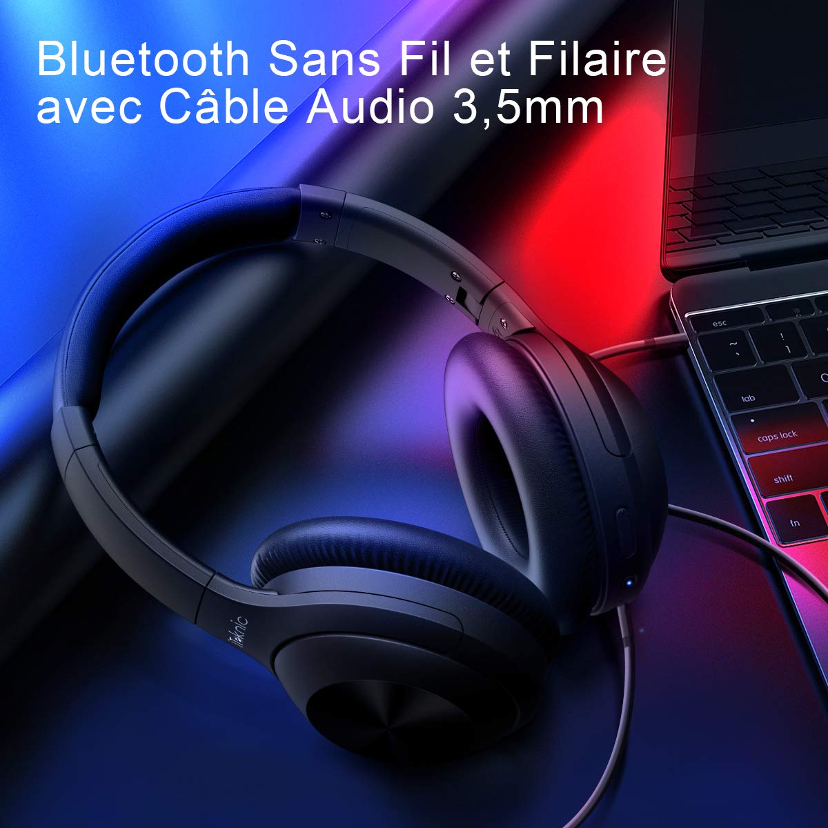 Casque Bluetooth sans Fil, iTeknic Casque Bluetooth Réduction de Bruit Active ANC Casque Audio Supra Auriculaire Stéréo Pliable Micro Intégré Casque Anti Bruit Over Ear Compatible avec iPhone Android