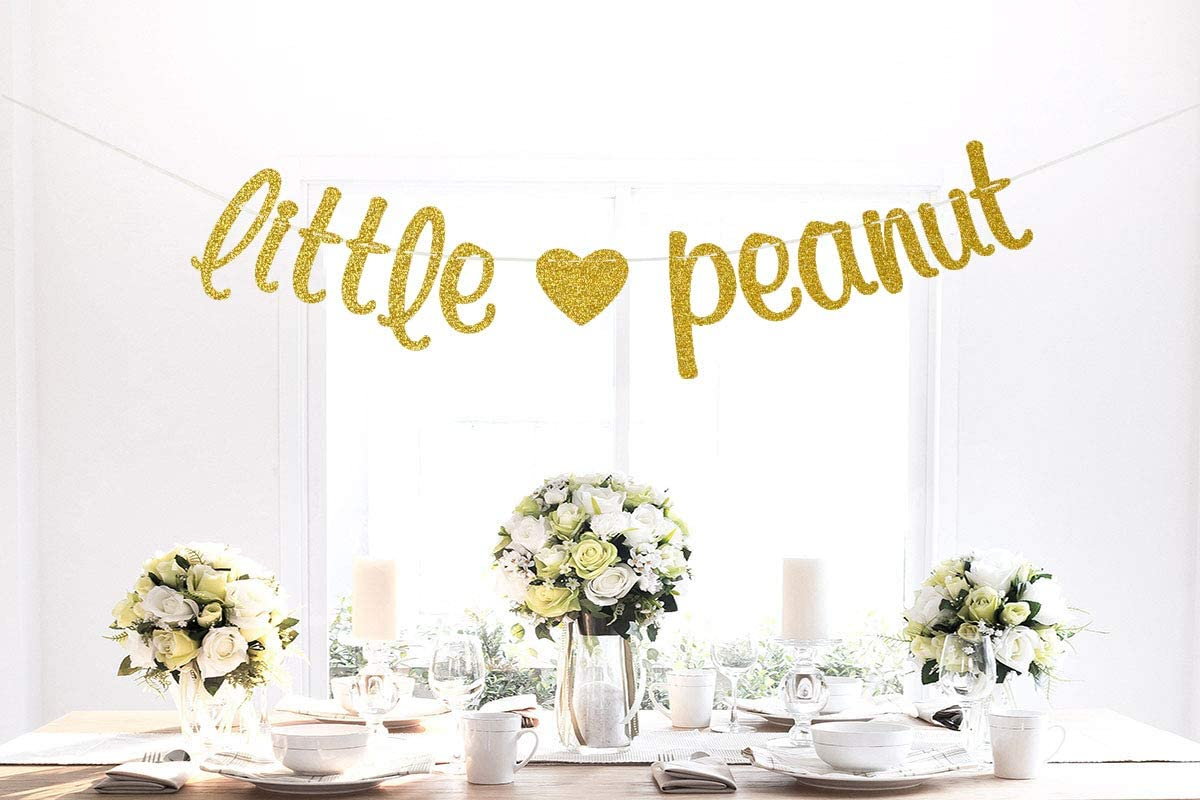 Happy Birthday Party Decors for Kids Baby Shower Party Decorations Gold Glitter Little Peanut Banner
