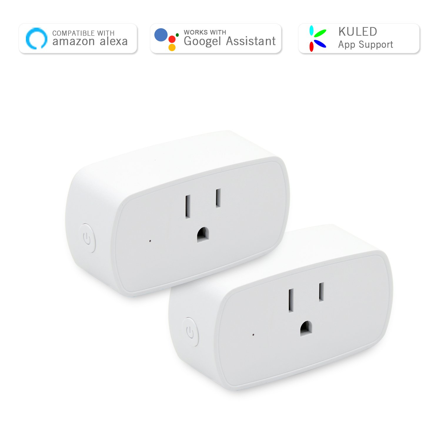 Smart Plug Mini Socket, Wi-Fi Outlet Compatible with Amazon Alexa and Google Home Assistant, No Hub Required, Remote Control Your Device from Anywhere Anytime Kuled 2 Pack