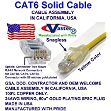"""200 Ft Cat.6 Gigabit Patch Cable, Made in USA, YELLOW COLOR Cat6 High Performance Cat6 Patch Cable - UL CSA CMR and 100% Copper. 23Awg, 50u"""" Gold Plating"""