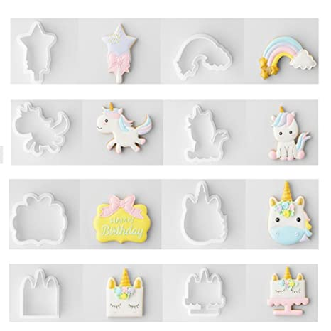 FOVIUPET - Juego de 8 moldes para galletas de unicornio en relieve, moldes para repostería