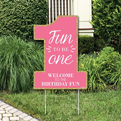 Big Dot of Happiness 1st Birthday Girl - Fun to be One - Party Decorations - First Birthday Party Welcome Yard Sign ()