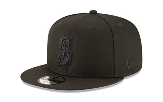 hot sale online ab40f df75f Image Unavailable. Image not available for. Color  New Era 950 MLB Basic  Black ON Black Seattle Mariners Snapback Cap