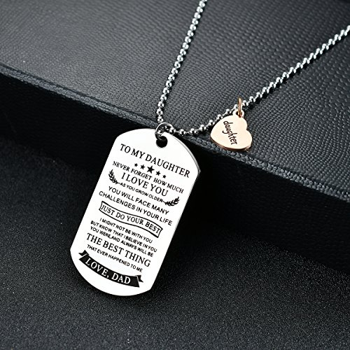 NOVLOVE To my daughter from dad Stainless Steel Dog Tag Letters To my daughter never forget how.love dad Pendant Necklace,Inspirational Gifts For daughter Jewelry by NOVLOVE (Image #2)