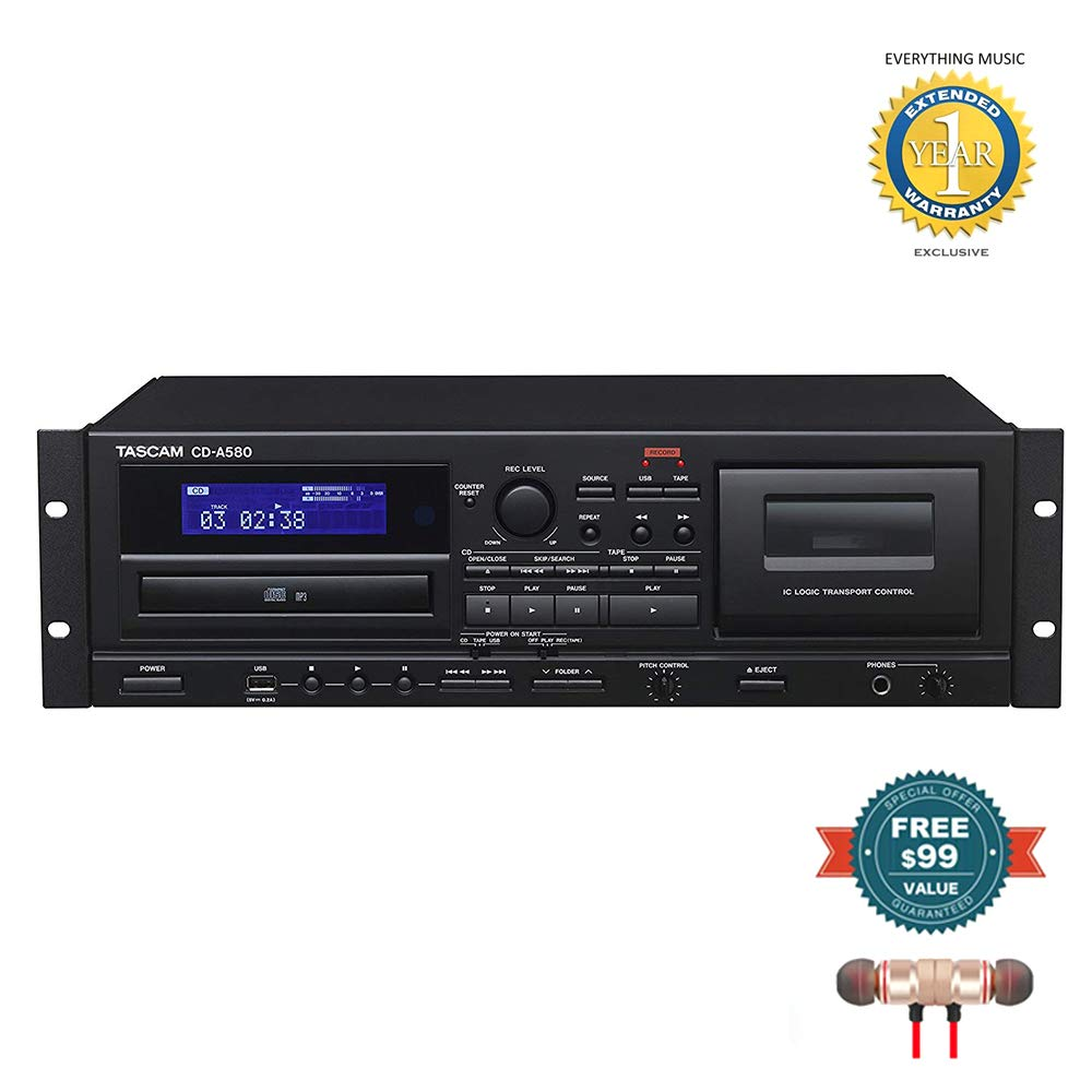 Tascam CD-A580 Rackmount Cassette/CD/USB MP3 Player Recorder Combo includes Free Wireless Earbuds - Stereo Bluetooth In-ear and 1 Year Everything Music Extended Warranty