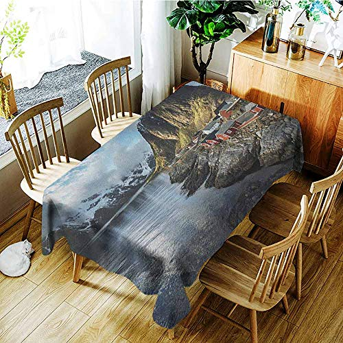 XXANS Small Rectangular Tablecloth,Island,Fishing Hut Photo in Autumn with Rocks and Clouds Scenery Northern Norway Cold,Party Decorations Table Cover Cloth,W54x90L Blue Grey White