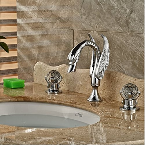 GOWE Polished Chrome Widespread Swan Basin Sink Faucet Deck Mount Dual Handles Mixer Taps 3