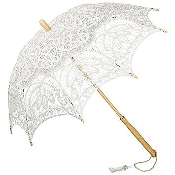 ff69de6f7be47 VON LILIENFELD® Ombrelle Dentelle Mariée Femme Parasol Vivienne blanc