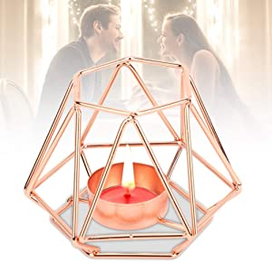Geometric Tealight Holder Wedding Candle Holder Candlestick for Home Tabletop Art Decor Ideal Gift for Parties Events(Rose Gold S)