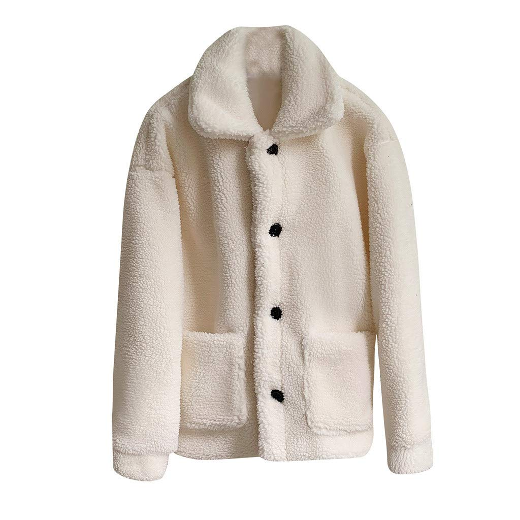 Women's Sweater Cardigans Hooded Button Cable Thick Sweaters Coats with Pockets(White,XXL) by FDelinK