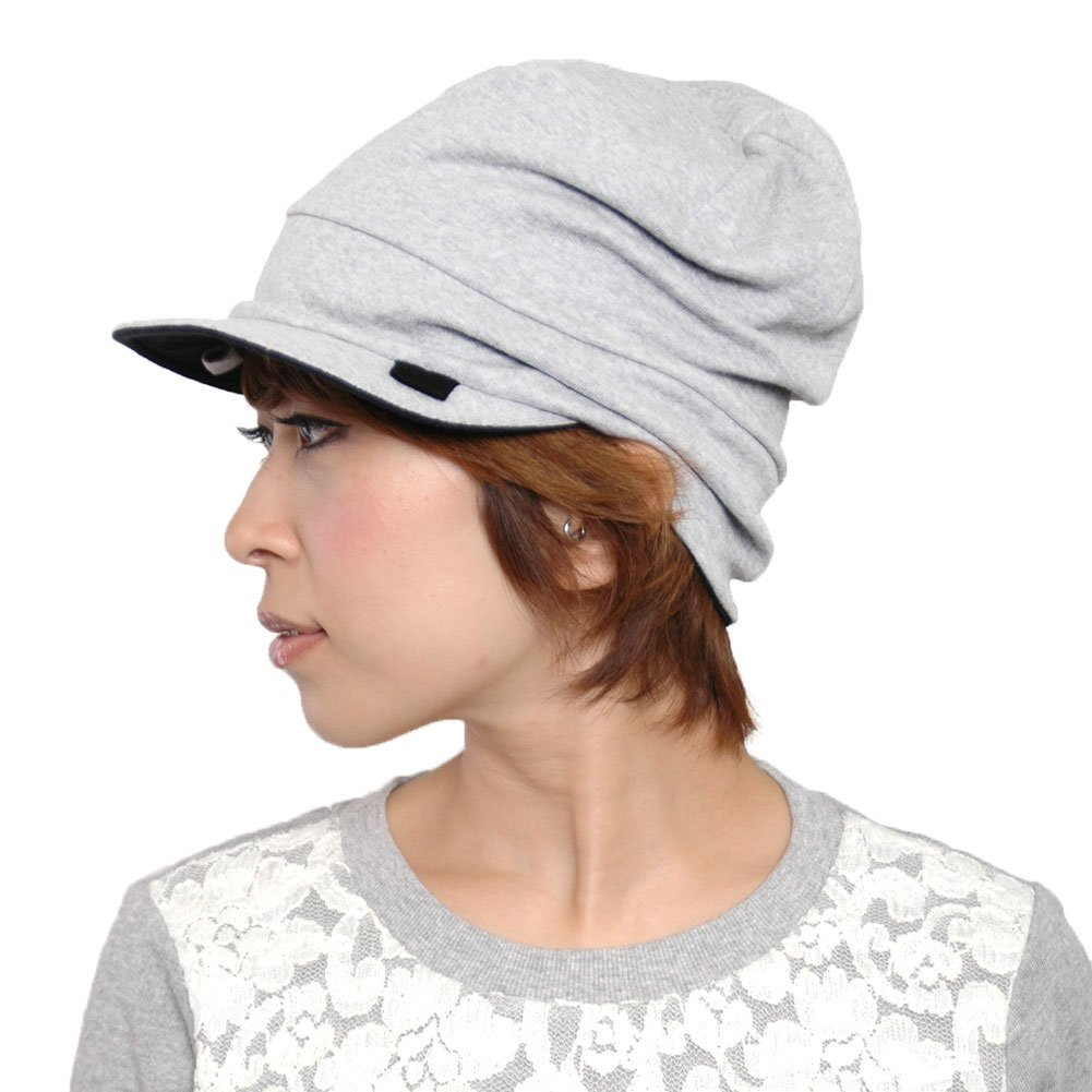 CHARM Organic Cotton Mens Beanie Cap - Womens Slouchy Peak Hat Sensitive Skin Chemo Wear Handmade Light Gray & Black