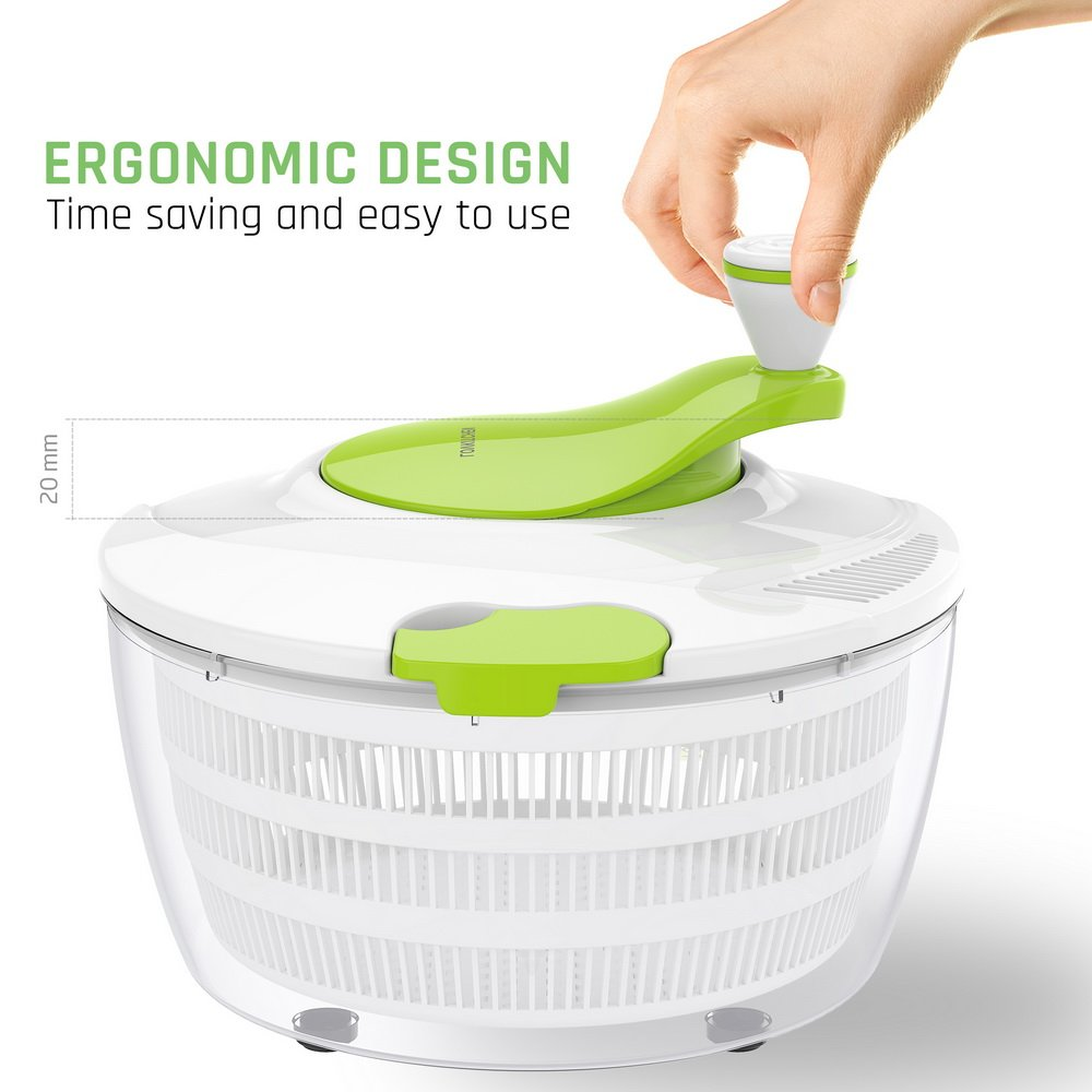 LOVKITCHEN Plastic Kitchen Large Salad Spinner - 4 Quarts Fruits and Vegetables Dryer Quick Dry Design BPA Free Dry Off & Drain Lettuce and Vegetable - Green-White