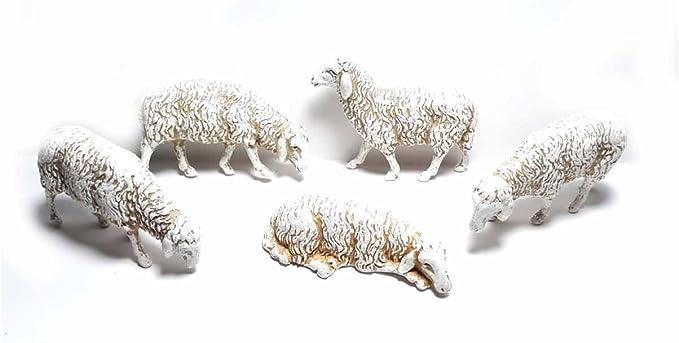 4 pecore animali per  pastori landi 12 cm presepe crib shereped
