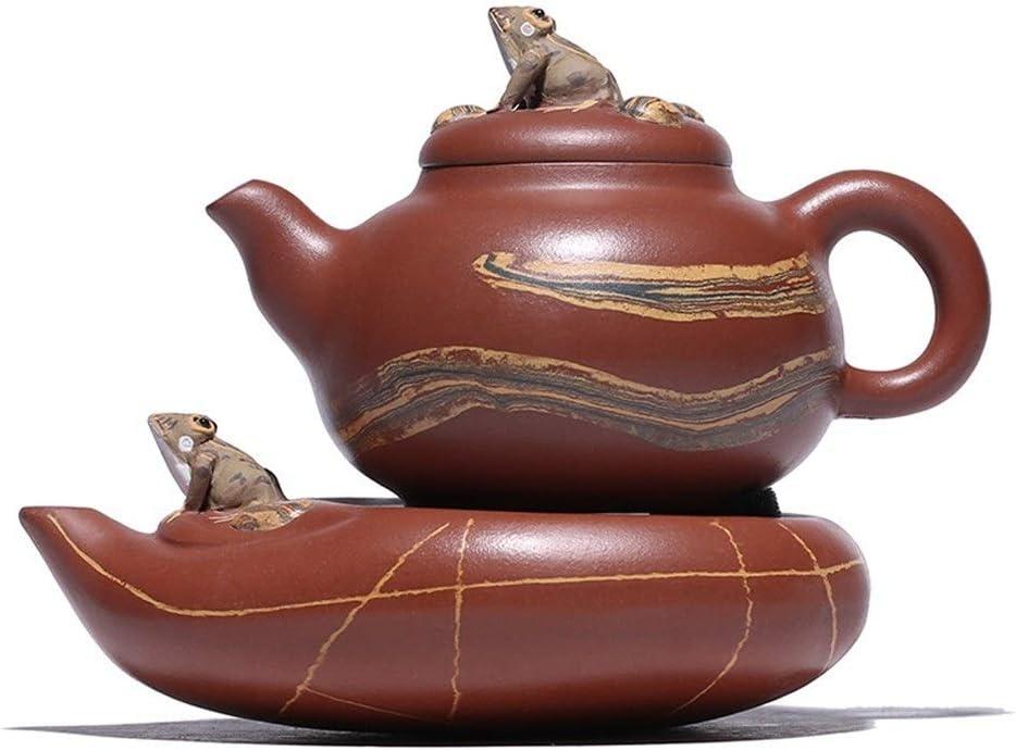 Lei Zhang カエルの泥ヒスイ鉱石宜興茶ポット手作りのティーポットティーポット (Color : Zhu Mu)