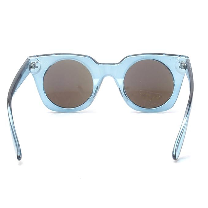 Accessoryo - bleu carré cadre lunettes de soleil rétro claires des femmes avec des verres revo THx75c