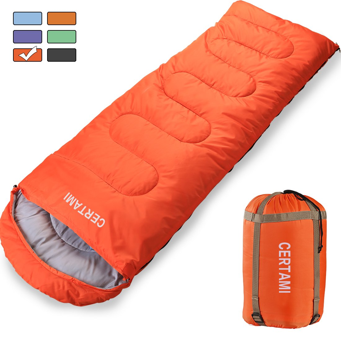 CER TAMI Sleeping Bag for Adults, Girls & Boys, Lightweight Waterproof Compact, Great for 4 Season Warm & Cold Weather, Perfect for Outdoor Backpacking, Camping, Hiking. (Mandarin Red/Left Zip) by CER TAMI