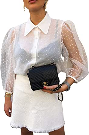 Blusa Mujer Bordado Transparente con Cuello Top Mujer Camisa Moderna Manga Ancha con Botones elástica en los puños