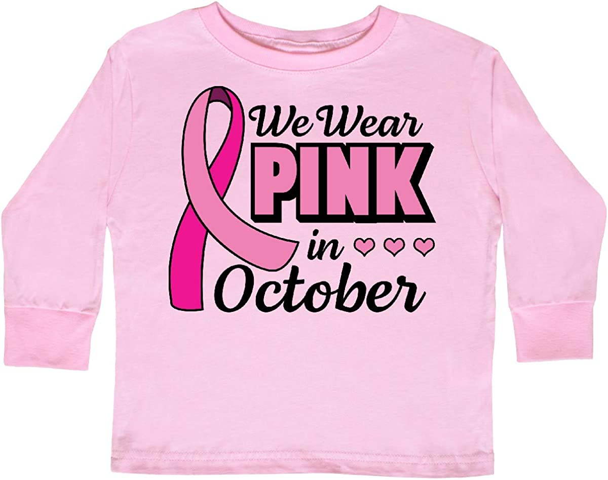 inktastic Breast Cancer Awareness We Wear Pink in Toddler Long Sleeve T-Shirt