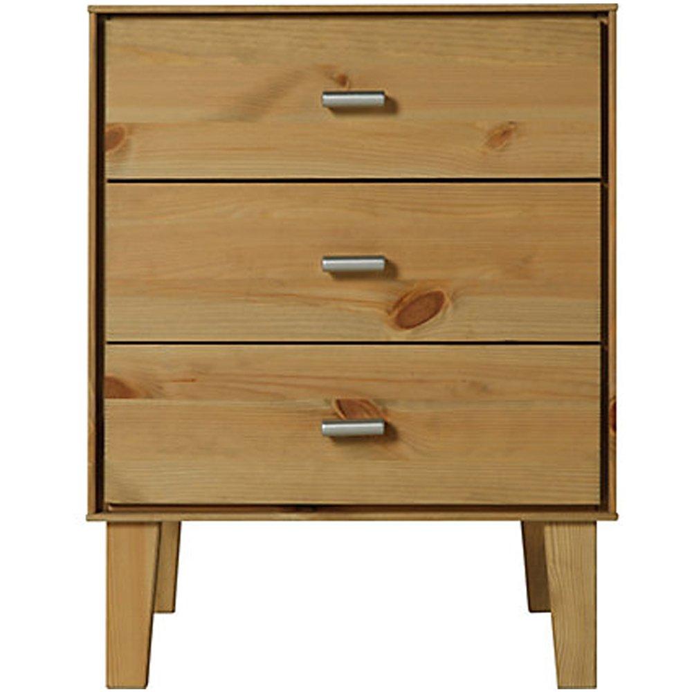 Table de Chevet 3 tiroirs Finition Chene WATSONS Angle