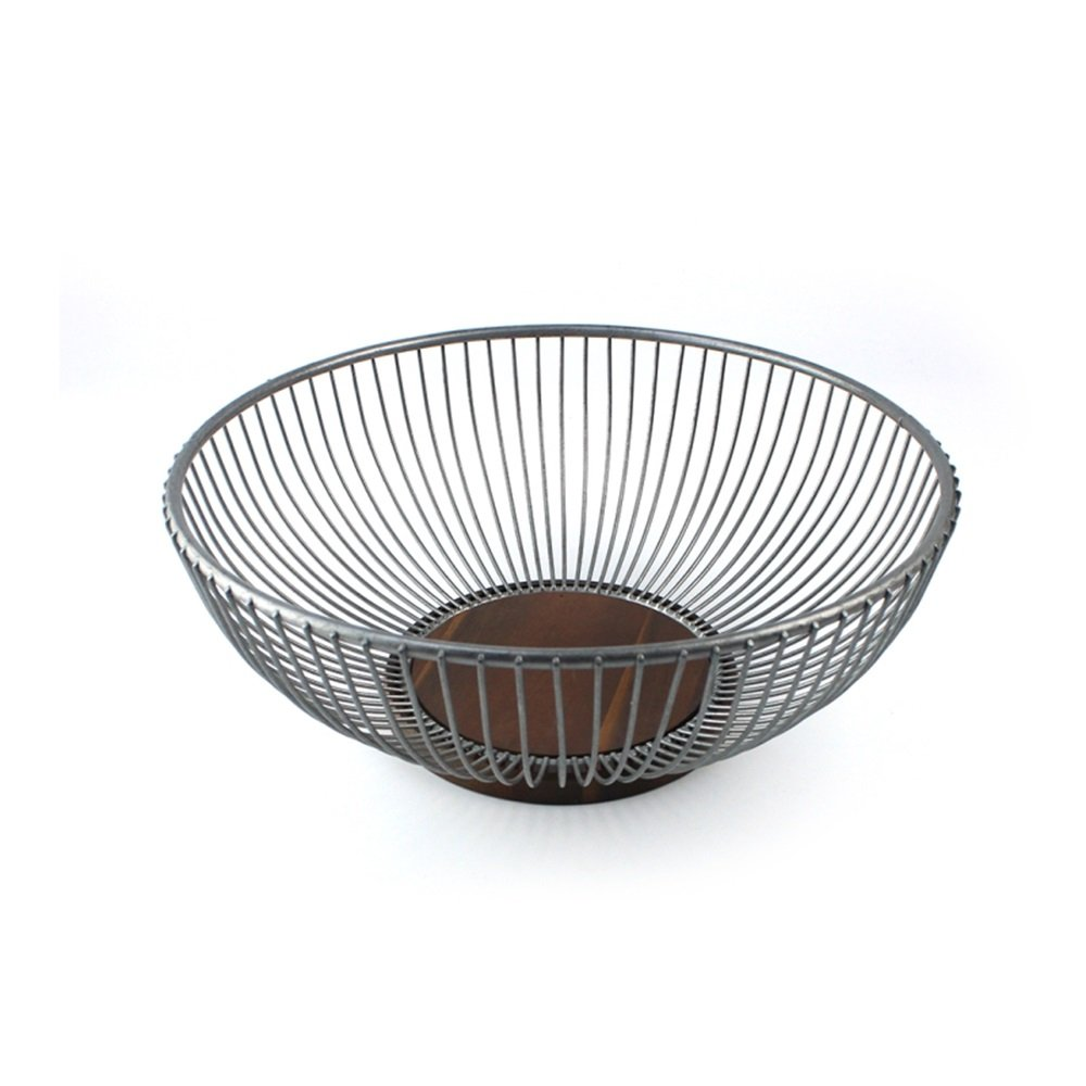 Retro Design Fruit Bowl,Wire Fruit Basket With Acacia Wood Base