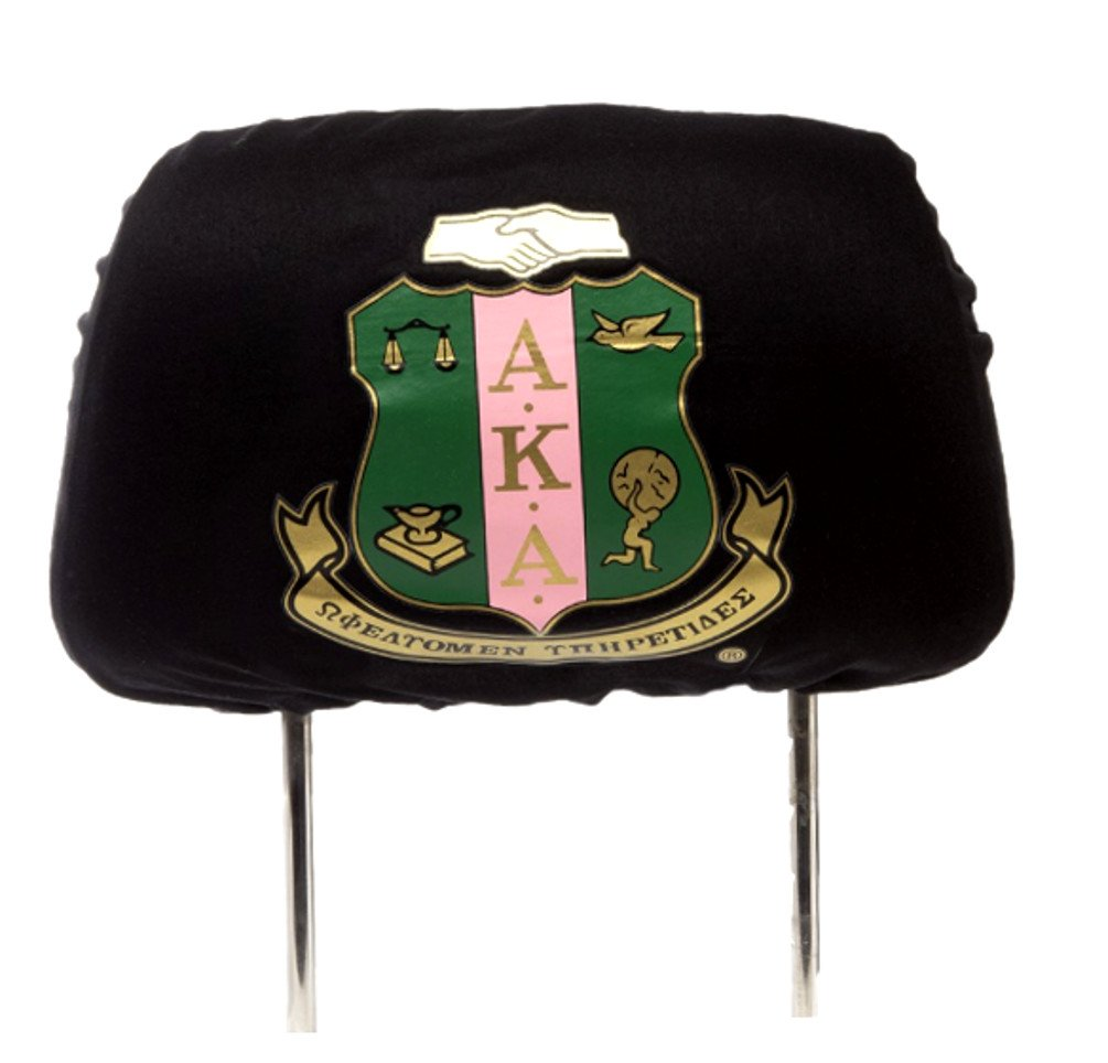 Nathan J. Alpha Kappa Alpha Sorority Black Two Headrest Covers (Black)