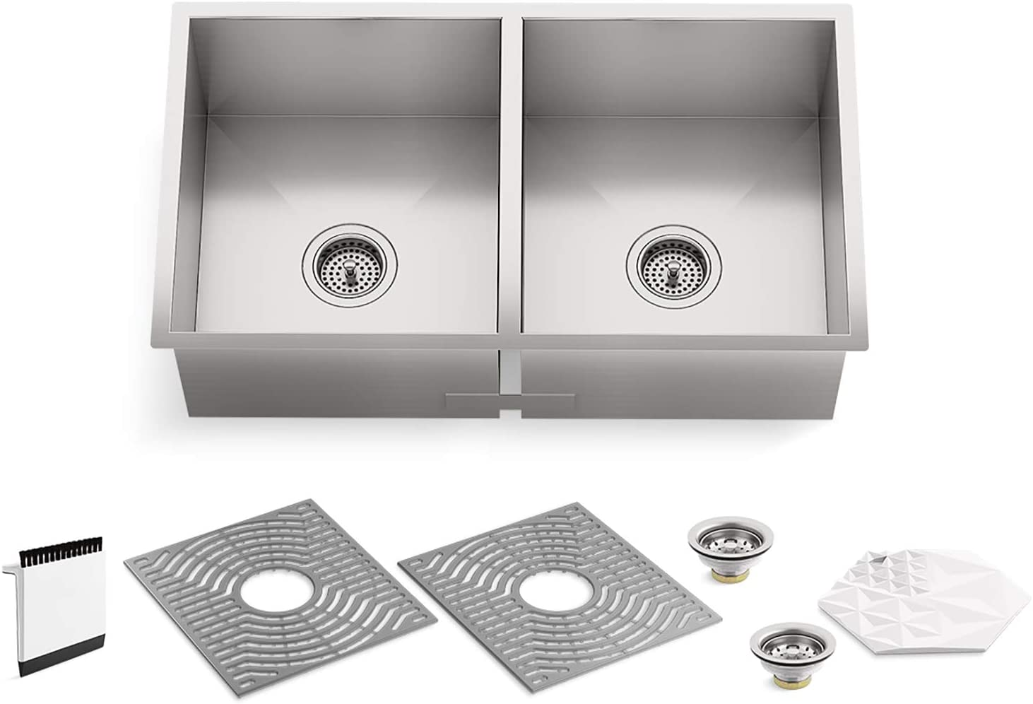 "Kohler 20024-PC-NA STERLING Ludington 32"" Under-Mount Double-Bowl Kitchen Sink with Accessories, Equal Basin, Stainless Steel"