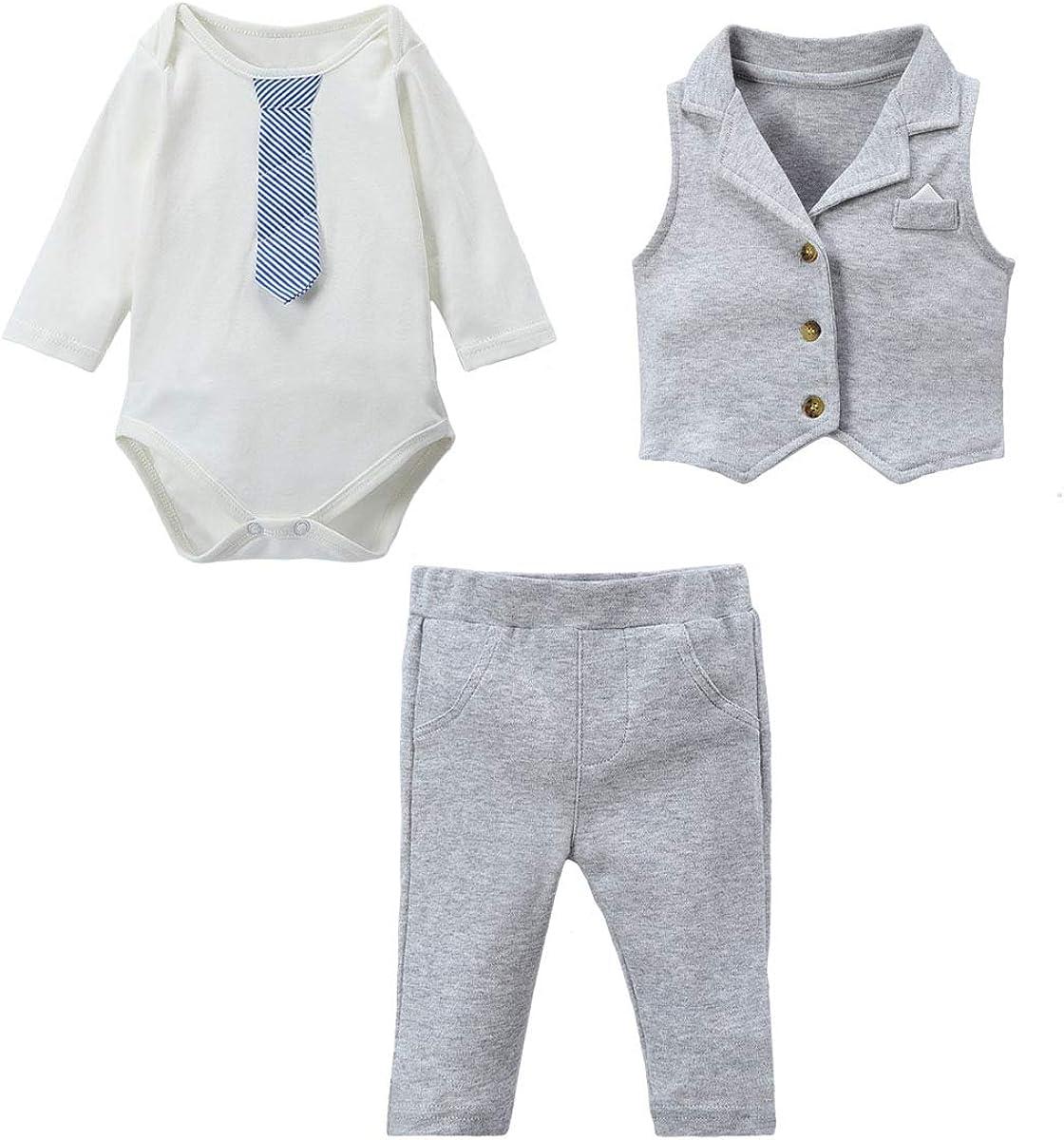 Famuka Baby Junge Anzug Baby Sakkos Taufe Hochzeit Babybekleidung Set