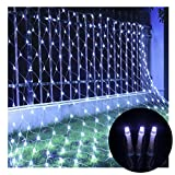 Net Lights Net Mesh Fairy String Decorative Lights,9.8ft x 6.6ft 208 LEDs 8 modes Waterproof with Connectable Tail Plug for Tree-wrap Indoor Outdoor Wedding Party Garden Room(White)