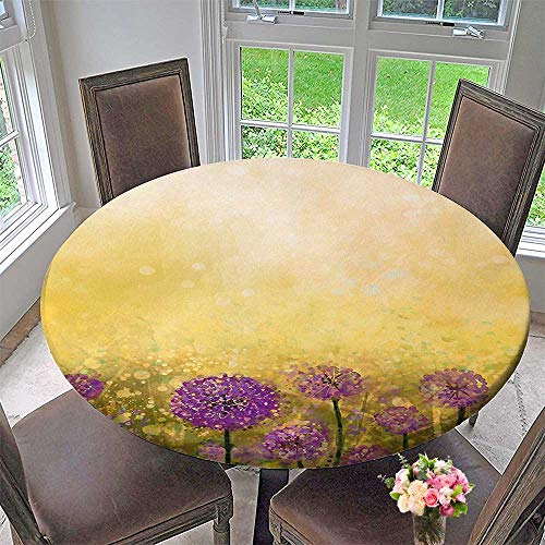 Mikihome Chateau Easy-Care Cloth Tablecloth Onion Garden with Staining Effects Pastoral Artisan Design Yellow Purple for Home, Party, Wedding 59