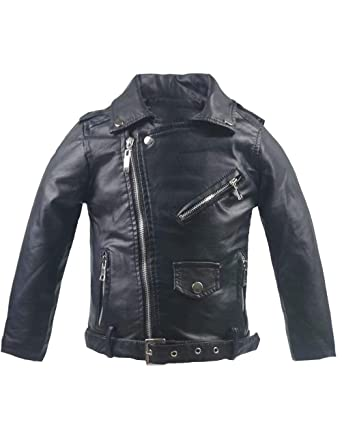 37740adfc Spring&Gege Little Girls' Classic Motorcycle Faux Leather Jacket Zipper  Moto Coat with Belt