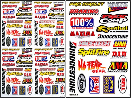 2x rc 15 110 decals nitro gas car trucks boat racing sticker sheets rc 204 amazon co uk car motorbike