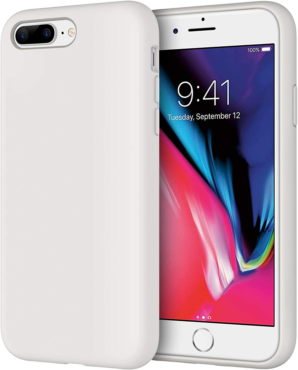 JETech Silicone Case for iPhone 7 Plus, iPhone 8 Plus, 5.5 Inch, Silky-Soft Touch Full-Body Protective Case, Shockproof Cover with Microfiber Lining, White