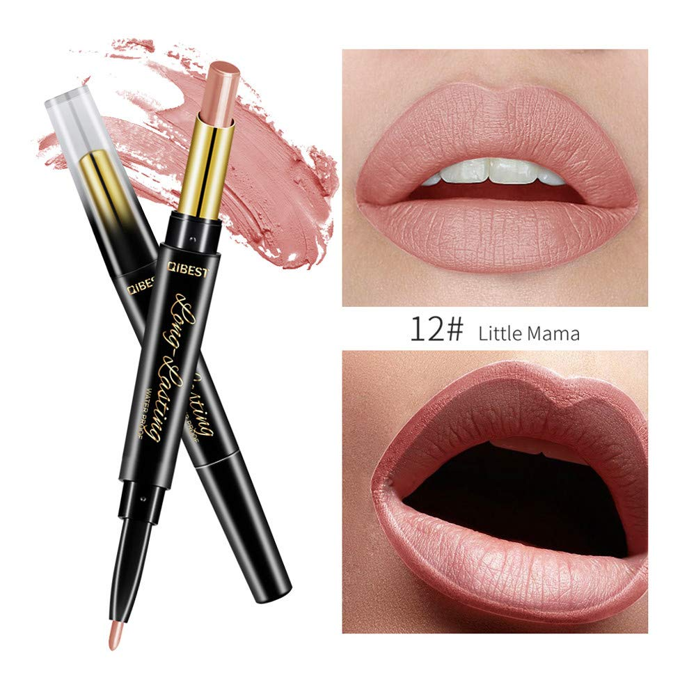 FORUU Women's Lipstick, 2019 Valentine's Day Surprise Best Gift For Girlfriend Lover Wife Party Under 5 Free delivery QIBEST Double-end Lasting Lipliner Waterproof Lip Liner Stick Pencil L