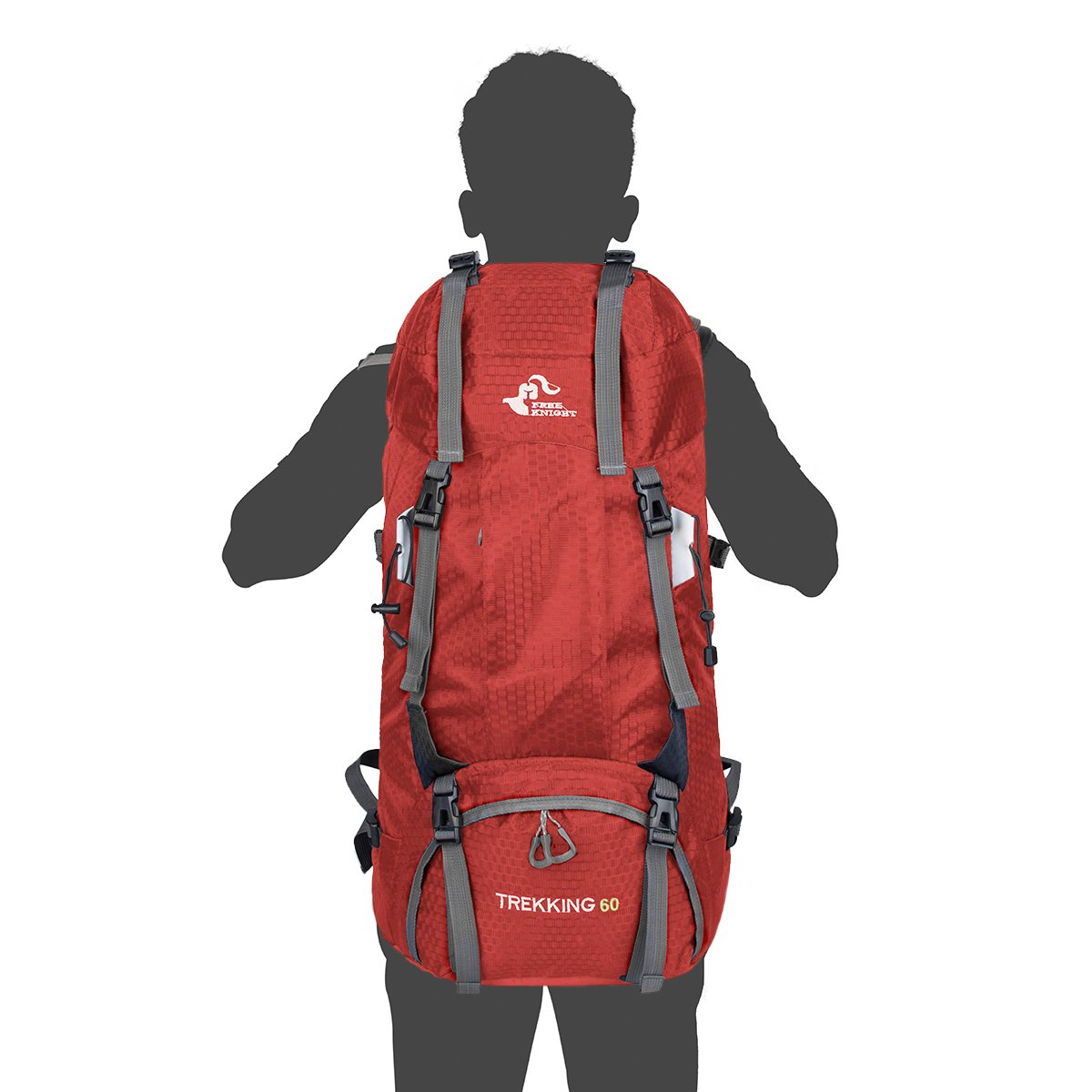 60L Water Resistant Hiking Backpack Outdoor Sports Bag with Rain Cover for Camping Climbing Mountaineering Fishing Cycling Skiing Travel Daypack Women Men Unisex Size 12.9\'\'x 7.8\'\'x 26.7\'\' (Red)