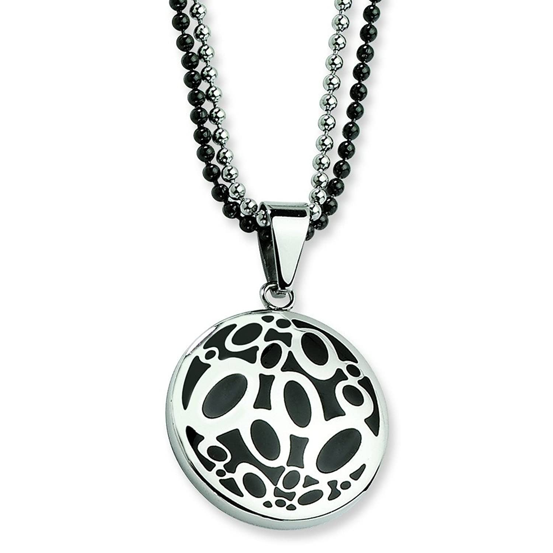 53de139e9f5d Acero inoxidable de doble cadena collar Fancy círculos - cm 55
