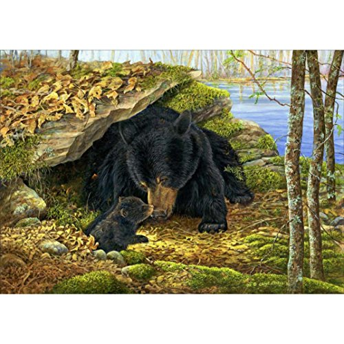 SUNBIBE DIY 5D Diamond Painting by Number Kit, The Black Bear Mother and Kid Crystal Rhinestone Embroidery Cross Stitch Arts Craft Canvas Wall Decor